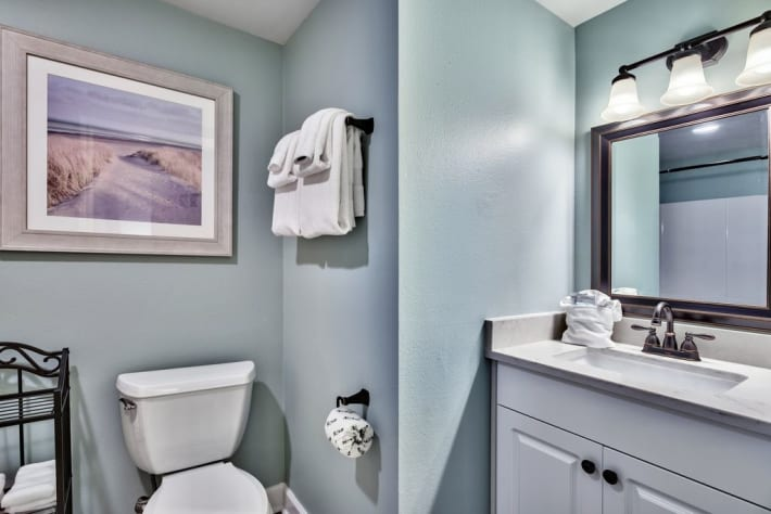 Master bathroom with full Shower/ Tub combination.