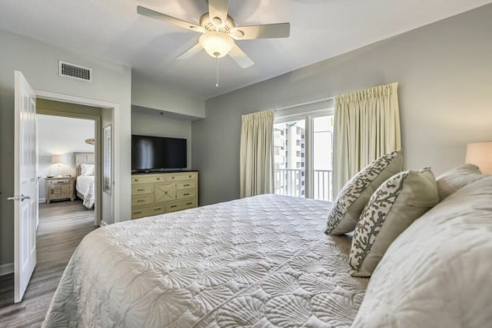 Relax in master bedroom and enjoy large flat screen TV.