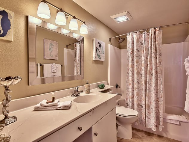 Master Bathroom with large vanity and tons of lighting!