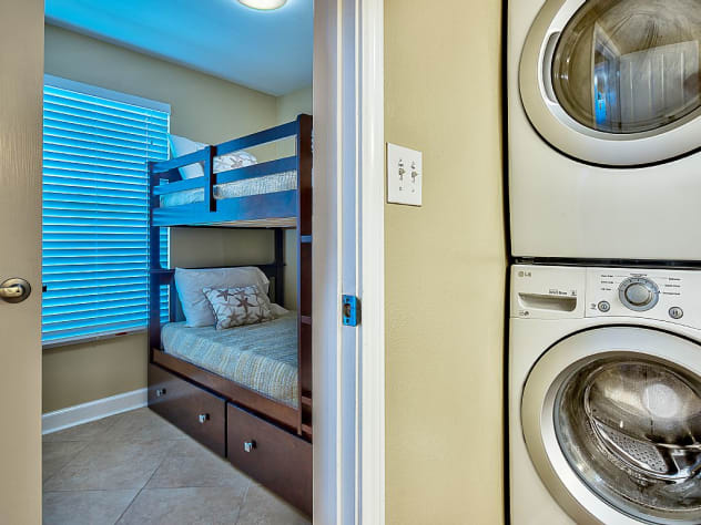 Bunk Room with door for privacy, en suite bathroom and FULL sized Washer and Dryer.
