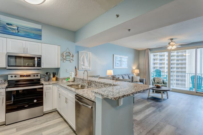 Stainless appliances and granite counters