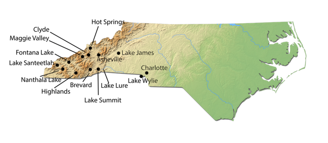 North Carolina City Map for Cabin Rentals