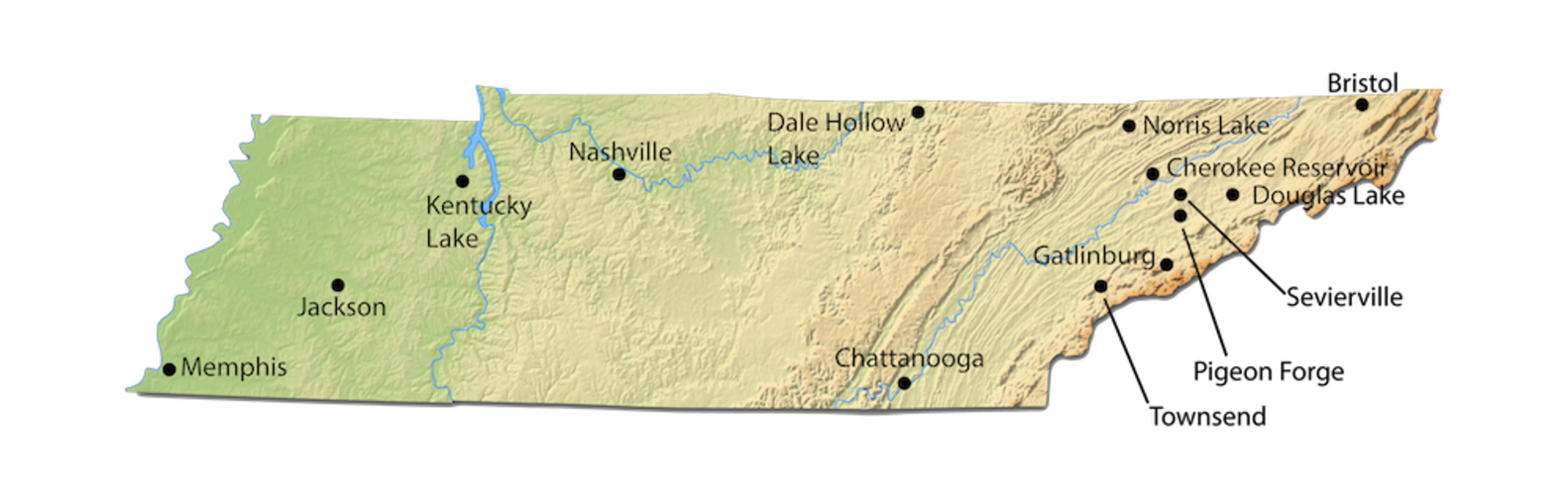 Tennessee City Map for Cabin Rentals