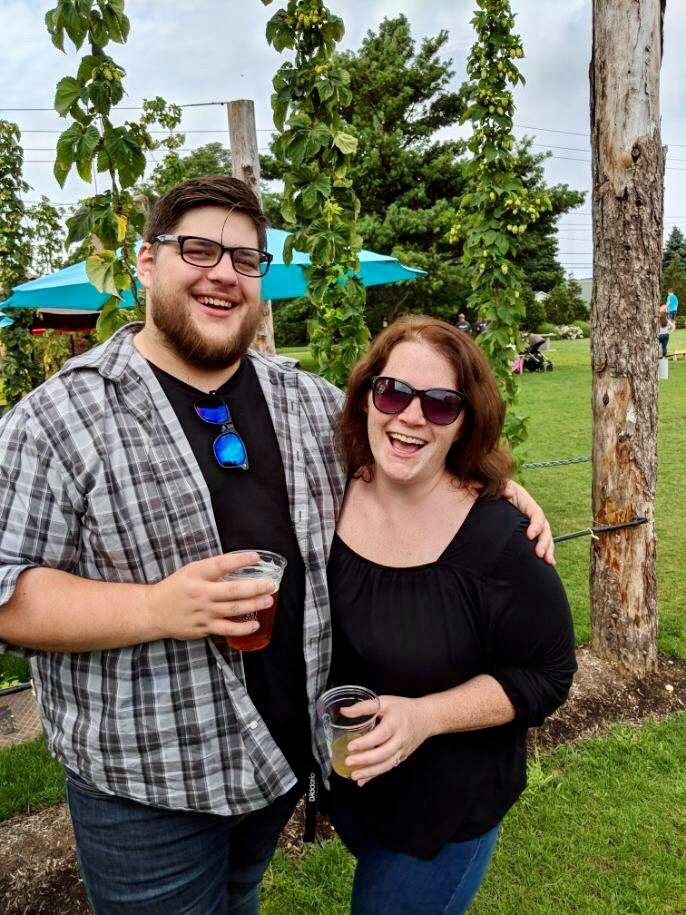 Meg and Ryan enjoying some drinks at Jamesport Vineyards