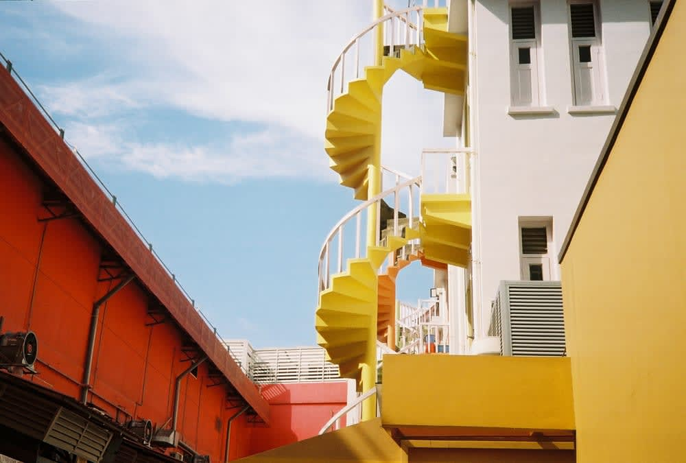 Colorful staircase in Bugis Singapore