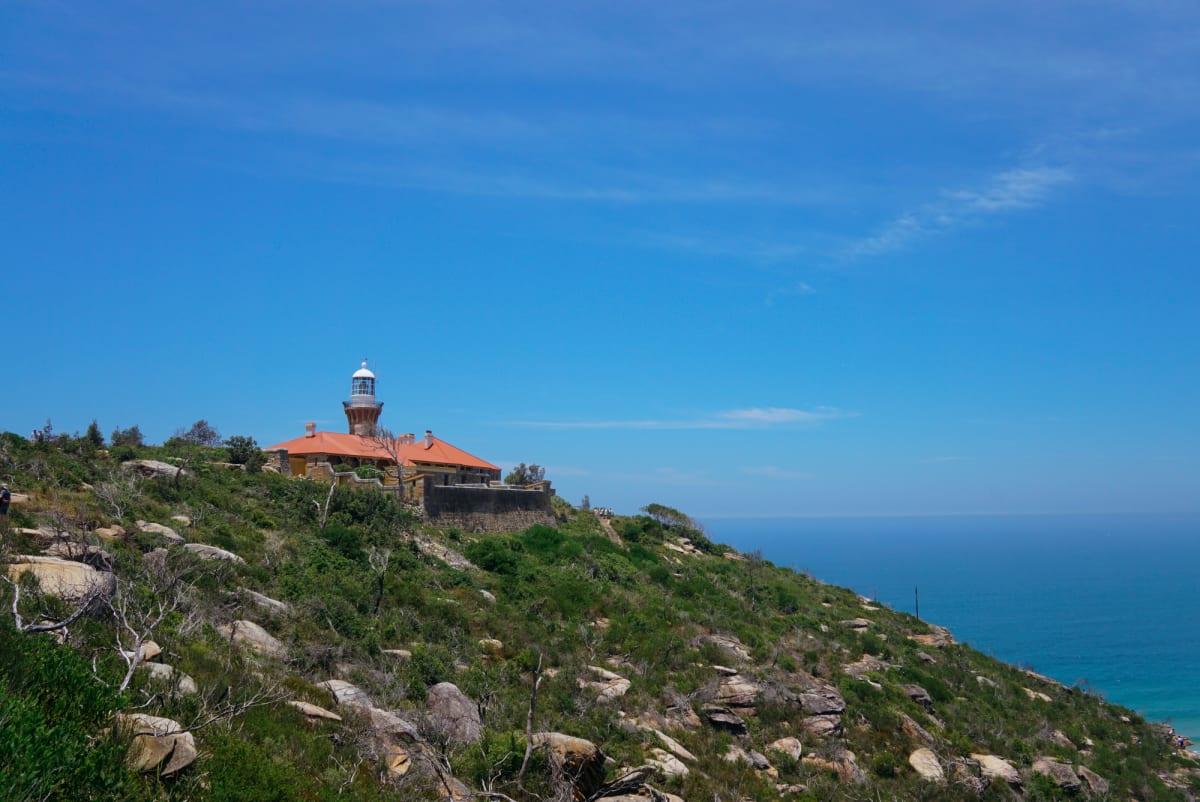Barrenjoey Lighthouse on blue sky