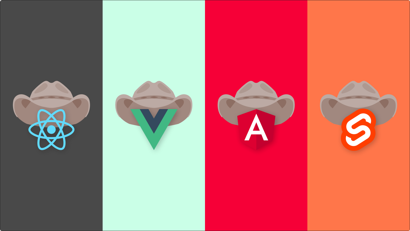 Front-end framework logos with cowboy hats on