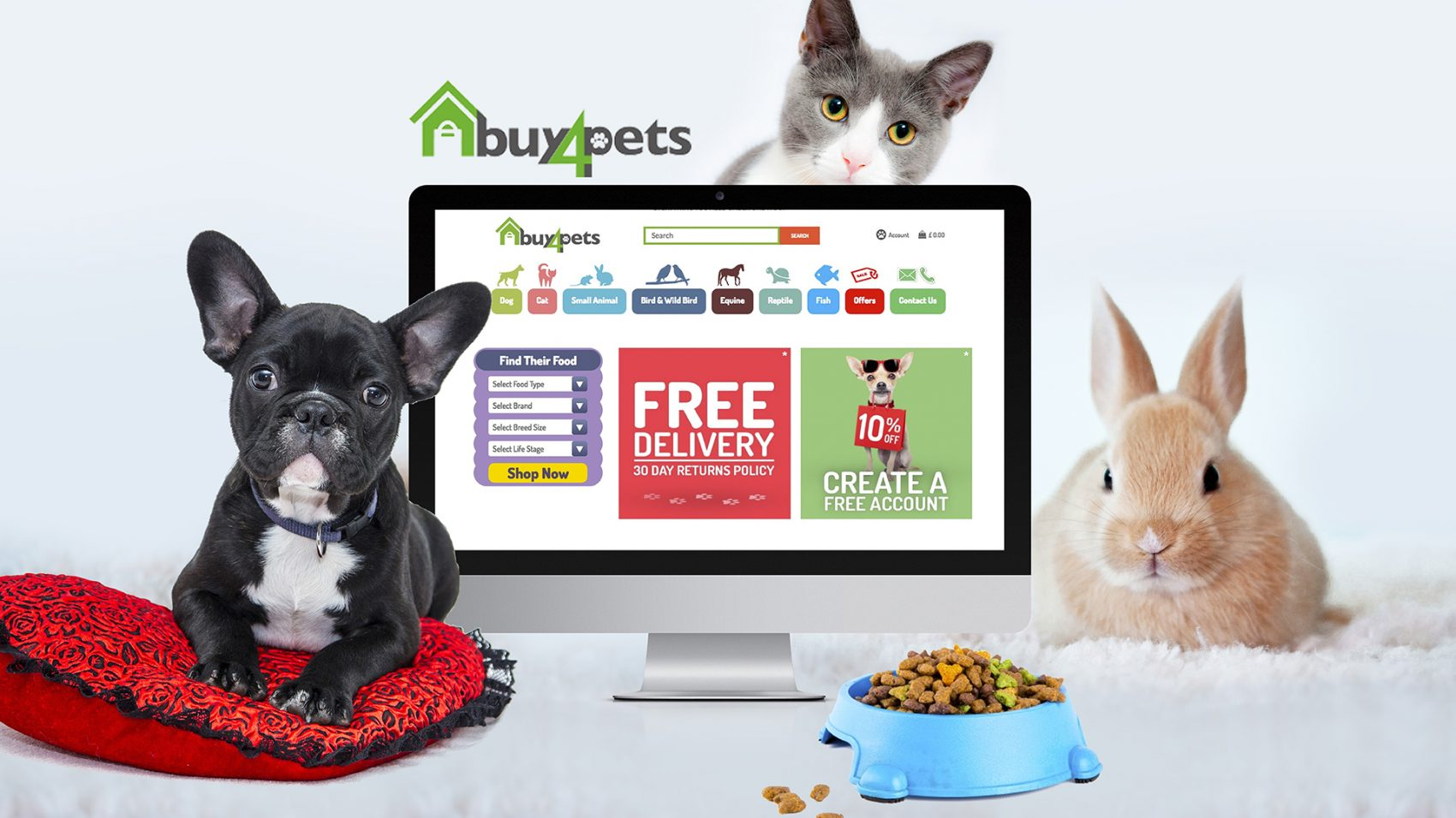 Buy4pets ecommerce web design banner