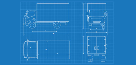 Blue print of box truck specification