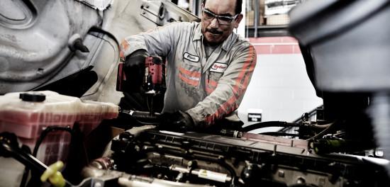 Diesel technician with semi-truck