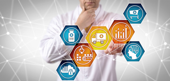 Healthcare supply chain logistics mosaic