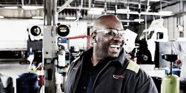 Ryder technician laughing