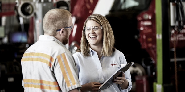 Ryder technician talking with customer