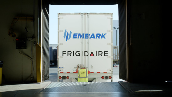 Back of truck with Embark branding