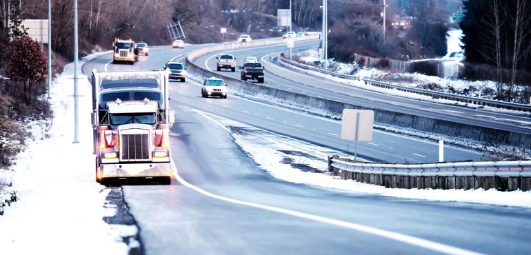 Semi truck broken down on icy road