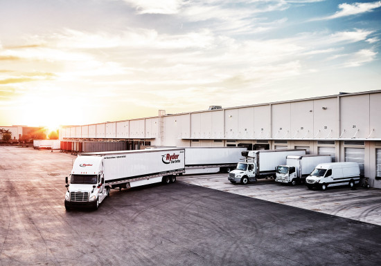 Ryder vehicles at warehouse linedup