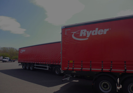 Ryder red curtainside trailers