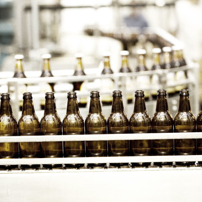 Bottles on production line
