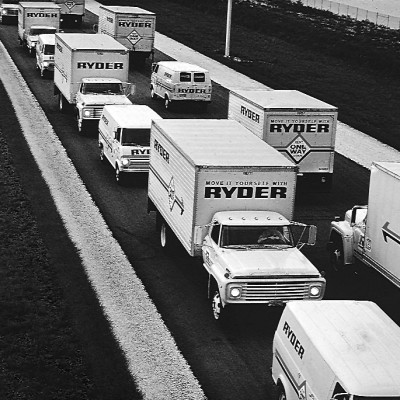 Ryder Rental trucks driving on the road