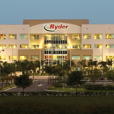 Ryder Dallas Headquarters with lights on