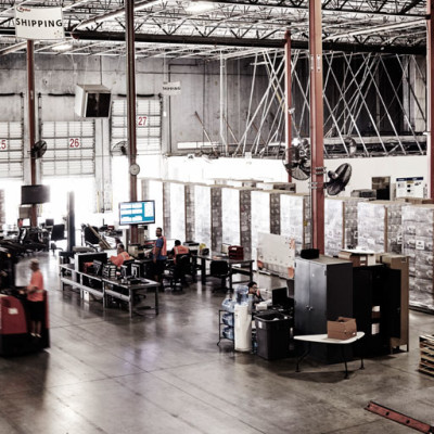 Warehouse space with forklifts