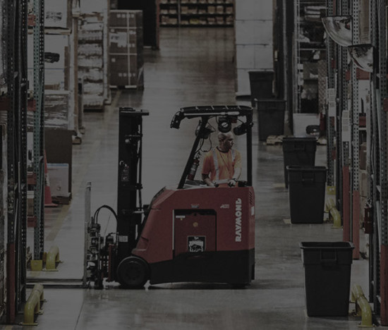 Forklift in a warehouse