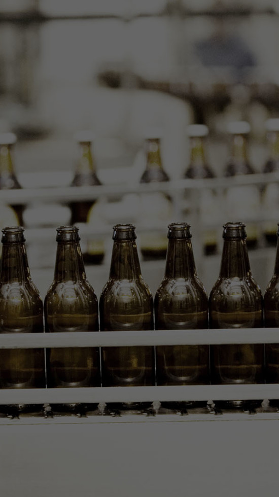 Bottles on a production line to be filled