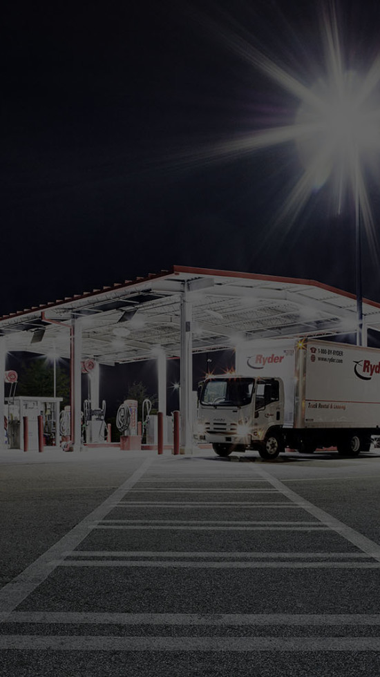 Fueling station at night