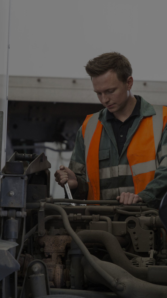 Ryder technician working on vehicle