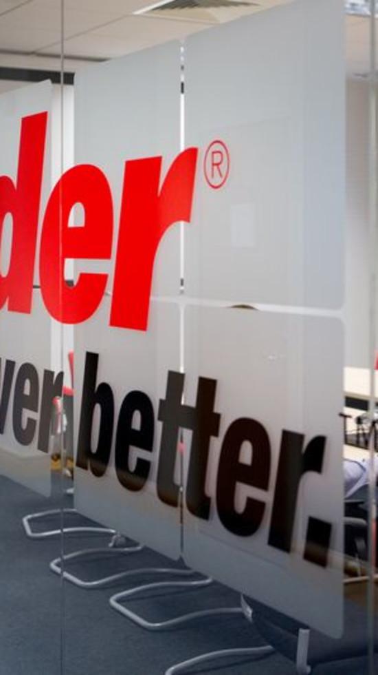 Ryder logo on office window
