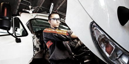 Truck Technician working on truck