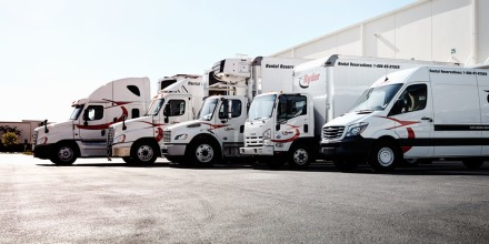 Commercial vehicles lined up