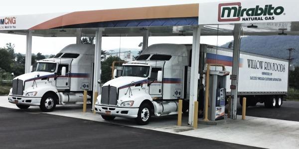 Trucks at fueling island