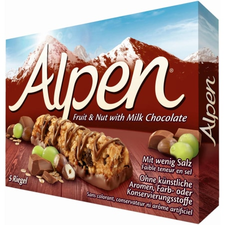 Alpen Frucht & Nussriegel mit Schokolade