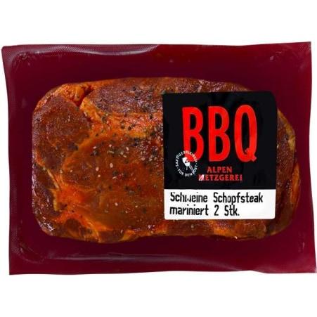 Alpenmetzgerei BBQ Schopfsteak vom Schwein mariniert 2er-Packung