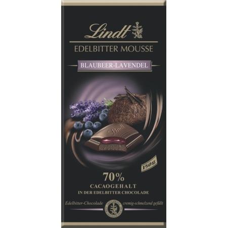 Lindt&Sprüngli Schokolade Edelbittermousse Blaubeer-Lavendel