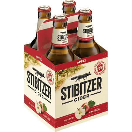 Stibitzer Apfel Cider Tray 4x 0,33 Liter Einweg-Flasche
