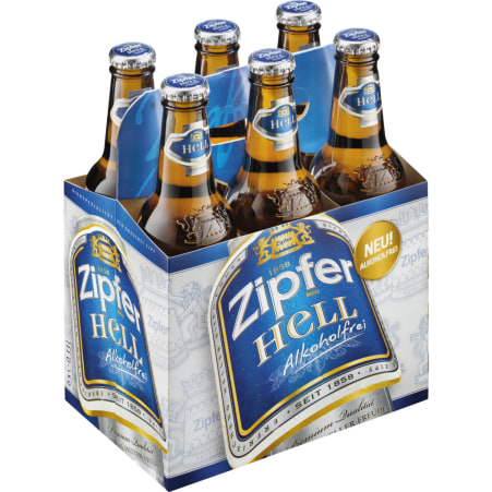 ZIPFER BIER Hell alkoholfrei Tray 6x 0,33 Liter Mehrweg-Flasche