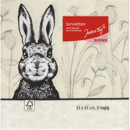 Jeden Tag Servietten Osterhase schwarz 33 x 33 cm 3-lagig