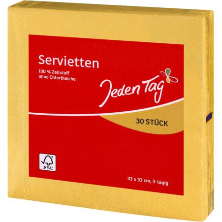 Jeden Tag Servietten gelb 33x 33 cm 3-lagig