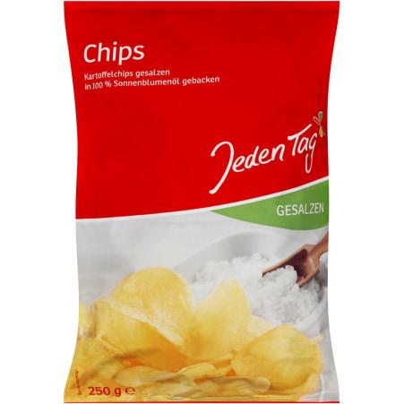 Jeden Tag Kartoffelchips gesalzen