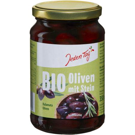 Jeden Tag Bio Griechische Oliven Kalamata mit Stein
