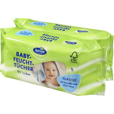 Bornys Babytücher Classic Duo 2x 80 Blatt