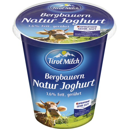 Tirol Milch Bergbauern Naturjoghurt 3,6% gerührt 500 gr