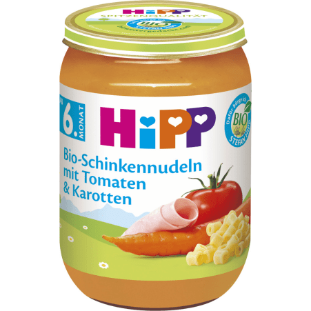 HiPP Bio Schinkennudeln-Tomate-Karotte 6. Monat