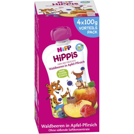 HiPP Hippis Waldbeeren in Apfel-Pfirsich 4er-Packung