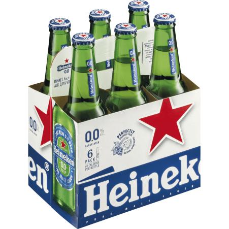 Heineken Bier alkoholfrei Tray 6x 0,33 Liter Einweg-Flasche