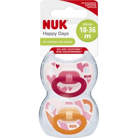 NUK Silikon-Beruhigungssauger Happy Days Gr. 3 2er-Packung