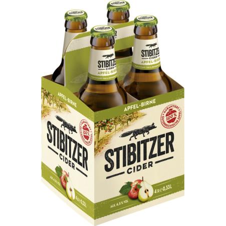 Stibitzer Apfel Birne Cider Tray 4x 0,33 Liter Einweg-Flasche