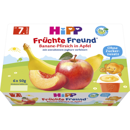 HiPP Früchtefreund Banane-Pfirsich in Apfel 7. Monat